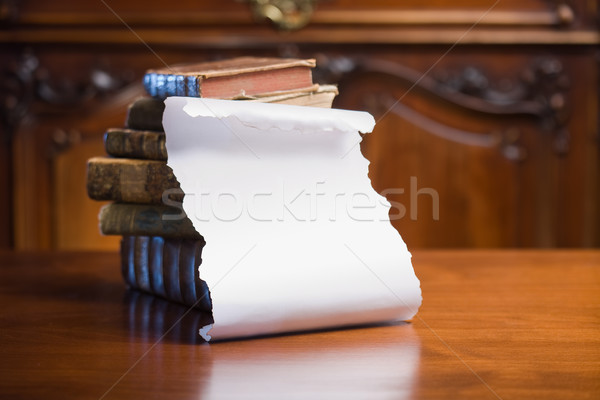 Antique books with empty scroll. Stock photo © lithian