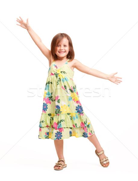 Mooie energiek jong meisje portret brunette gelukkig Stockfoto © lithian