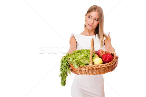 Kosár egészséges étrend fitt káprázatos fiatal szőke Stock fotó © lithian