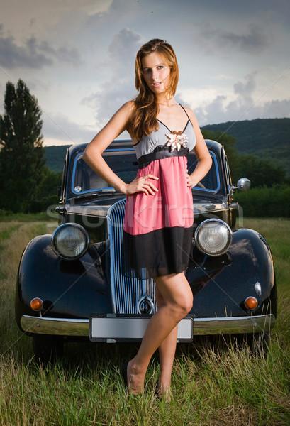 Ricca auto magnifico giovani posa esterna Foto d'archivio © lithian