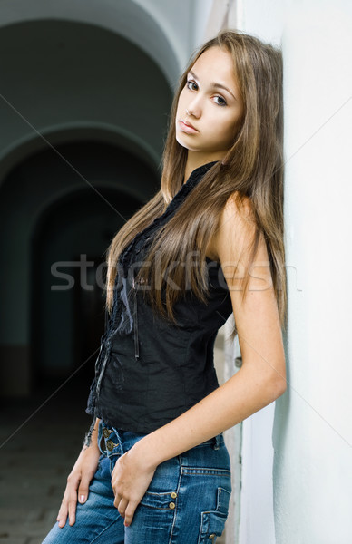 Gorgeous young brunette model. Stock photo © lithian