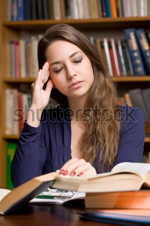 Agotado jóvenes estudiante retrato mirando hermosa Foto stock © lithian