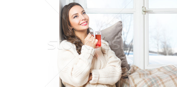 Winter beauty having hot beverage. Stock photo © lithian