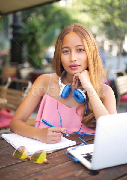 Zdjęcia stock: Piękna · młodych · asian · student · odkryty · portret