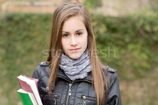 Stock fotó: Hideg · divatos · fiatal · diák · lány · kint