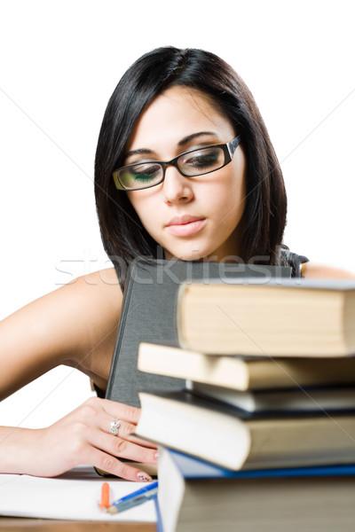 Zmęczony młodych brunetka student portret dziewczyna Zdjęcia stock © lithian