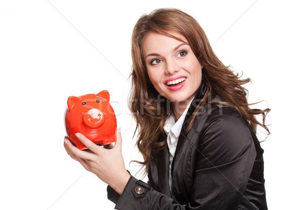 Enyém megtakarított pénz portré hideg gyönyörű fiatal Stock fotó © lithian