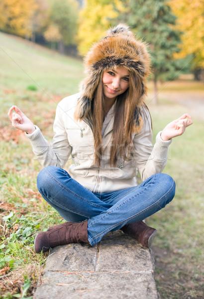 Cute медитации красивой смешные молодые брюнетка Сток-фото © lithian