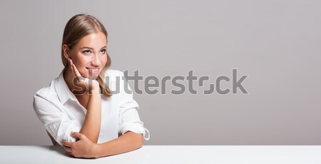 Cheerful blond woman. Stock photo © lithian