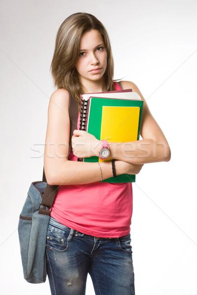 Zangado frustrado olhando jovem estudante menina Foto stock © lithian
