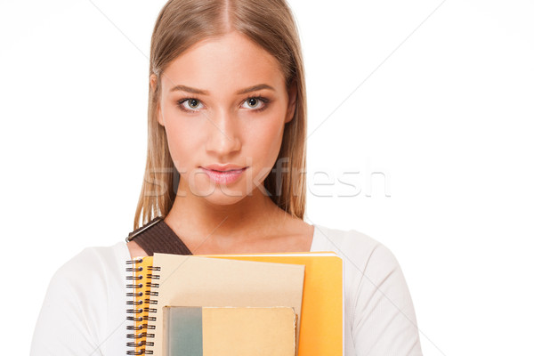 Káprázatos diák lány portré szőke izolált Stock fotó © lithian