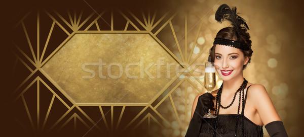 Art deco stílus buli lány új év arany Stock fotó © lithian