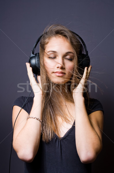 Stock photo: Immersed in music.
