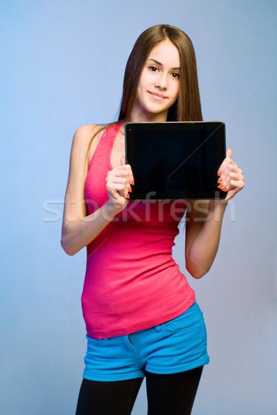 Tini cuki tabletta copy space színes aranyos Stock fotó © lithian