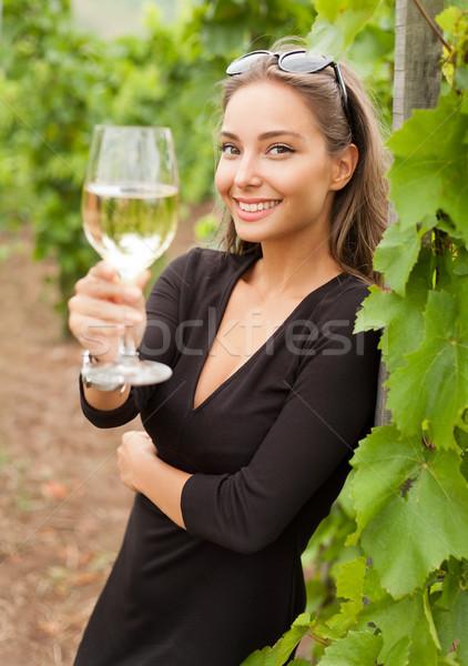 şarap tadımı turist kadın açık havada portre güzel Stok fotoğraf © lithian