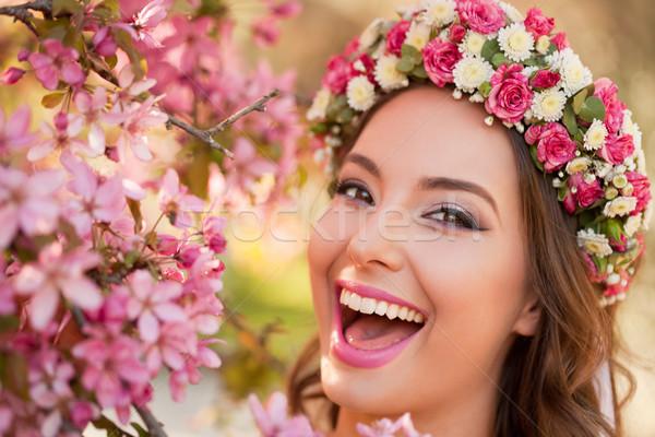Surpreendente naturalismo primavera beleza ao ar livre retrato Foto stock © lithian