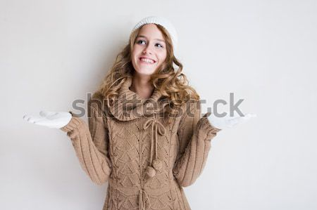 Stock photo: Fashionable young woman in winter outfit.