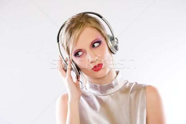 Mooie pop meisje hoofdtelefoon blond genieten Stockfoto © lithian