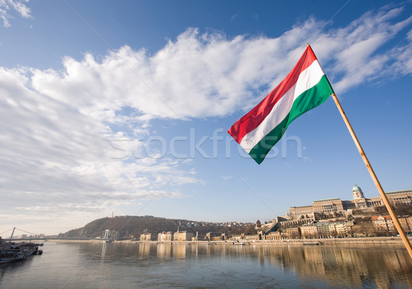 The Hungarian flag over river Danube. Stock photo © lithian