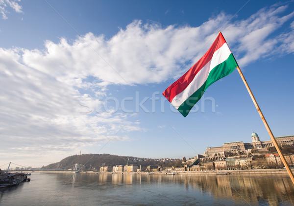 флаг реке Дунай исторический зданий Сток-фото © lithian