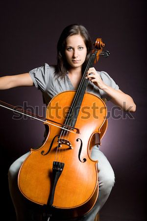 Clássico arte retrato belo jovem violoncelista Foto stock © lithian