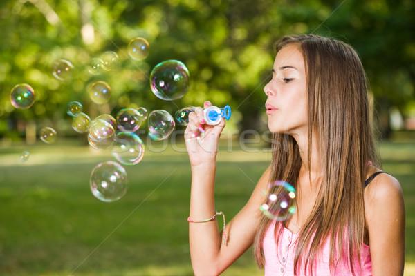 Cute bubble blazer portret mooie jong meisje Stockfoto © lithian
