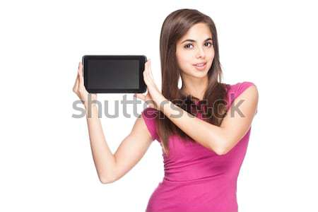 Stock photo: Cute student holding tablet computer.