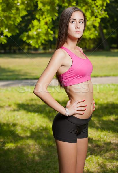 Bella snello giovani fitness ragazza ritratto Foto d'archivio © lithian