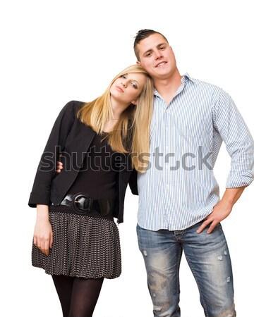 Moda genç öğrenci çift portre Stok fotoğraf © lithian