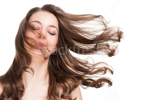 Fuerte saludable pelo retrato morena belleza Foto stock © lithian