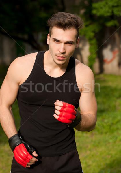Stock fotó: Nagyszerű · utca · edzés · jóképű · fiatal · atléta