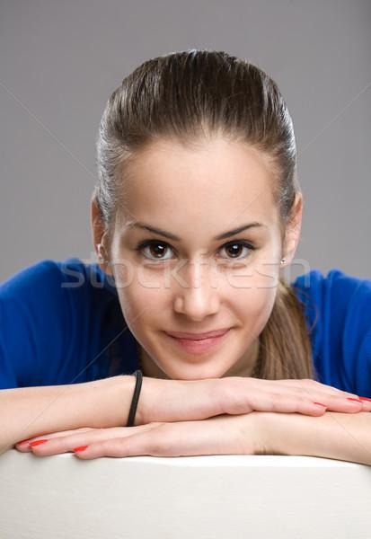 Kifejező tini portré káprázatos fiatal barna hajú Stock fotó © lithian