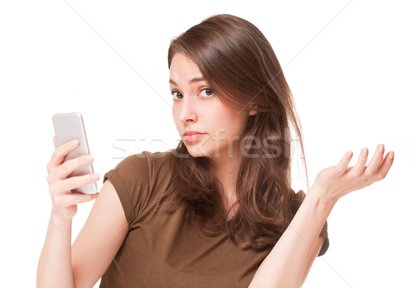 Stockfoto: Telefoon · portret · prachtig · jonge · brunette · vrouw · telefoon