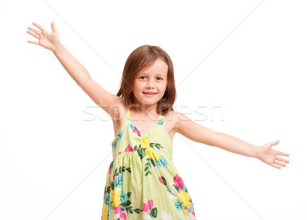 Beautiful energetic young girl. Stock photo © lithian