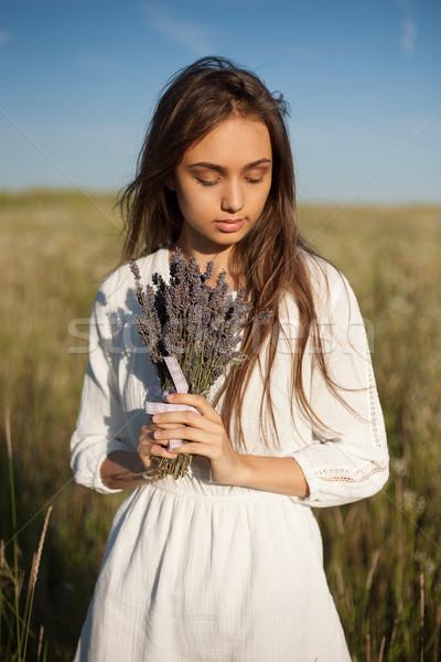 Profumo lavanda ritratto giovani bruna bellezza Foto d'archivio © lithian