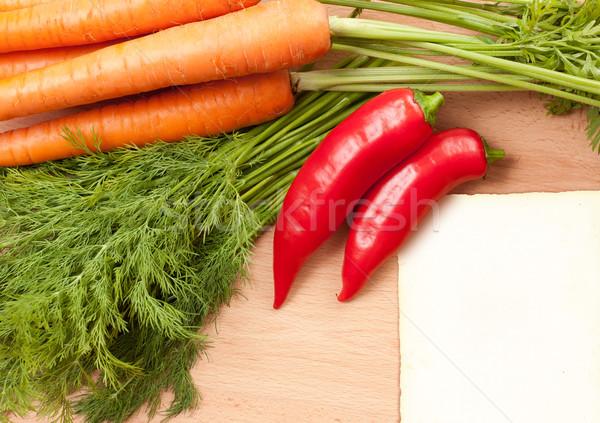 Enyém saját recept csendélet friss zöldség hozzávalók Stock fotó © lithian