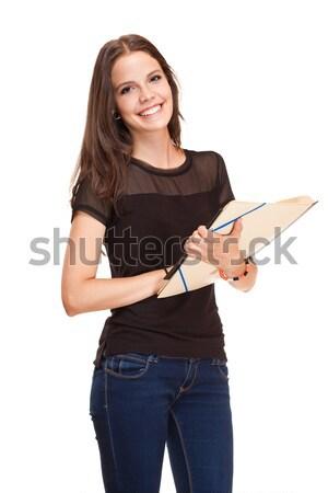 De moda jóvenes morena estudiante retrato fresco Foto stock © lithian