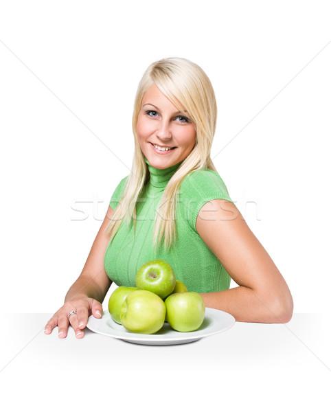Egészséges étrend gyönyörű fiatal szőke köteg lédús Stock fotó © lithian
