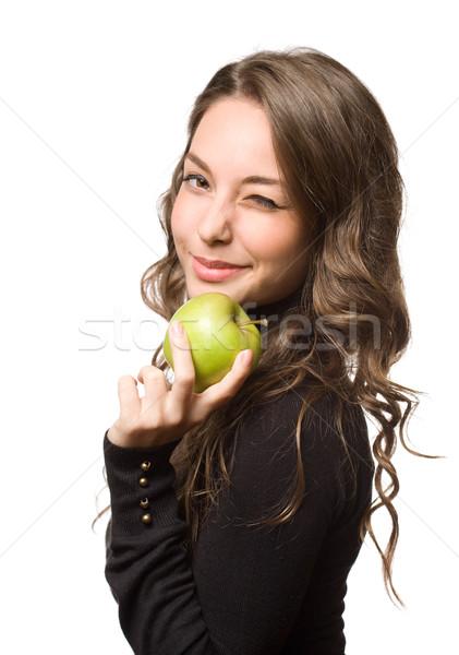 Fitt fiatal barna hajú zöld alma portré Stock fotó © lithian
