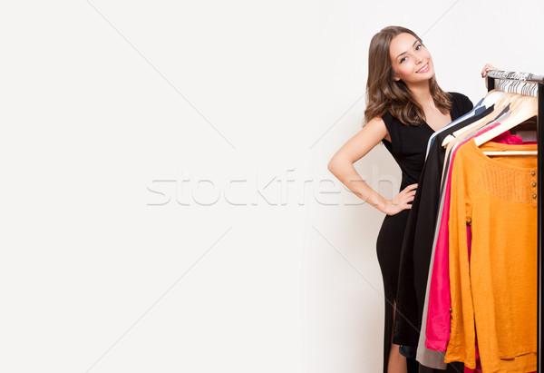 Fiatal vásárlás jókedv portré barna hajú szépség Stock fotó © lithian