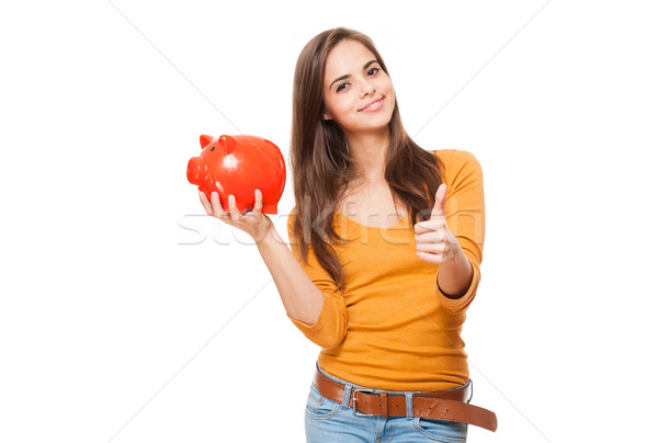 Aranyos barna hajú persely portré nő pénzügy Stock fotó © lithian