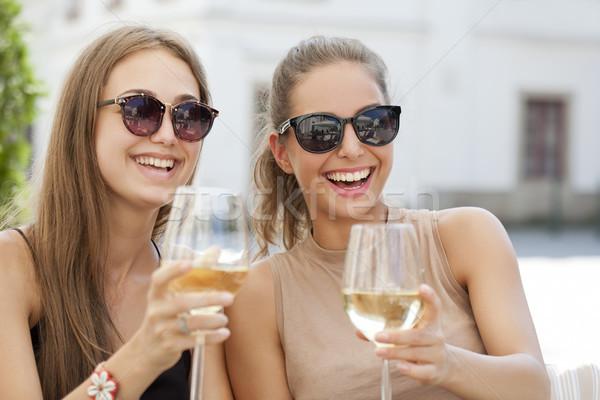 Nyár bor jókedv portré kettő fiatal Stock fotó © lithian