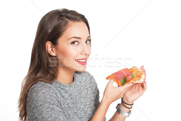 Fiatal barna hajú olasz étel káprázatos nő étel Stock fotó © lithian