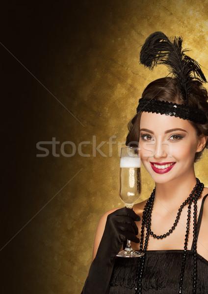 Art deco estilo festa menina ano novo dourado Foto stock © lithian