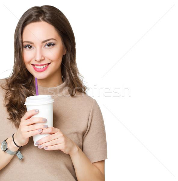 Aranyos kávé lány portré káprázatos fiatal Stock fotó © lithian