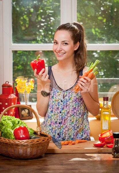 Gorgeous brunette preparing healthy meal. Stock photo © lithian