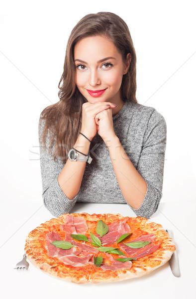 Olasz ízlés gyönyörű fiatal barna hajú nő Stock fotó © lithian