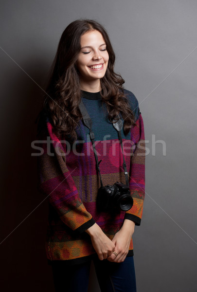 Shy young photographer. Stock photo © lithian