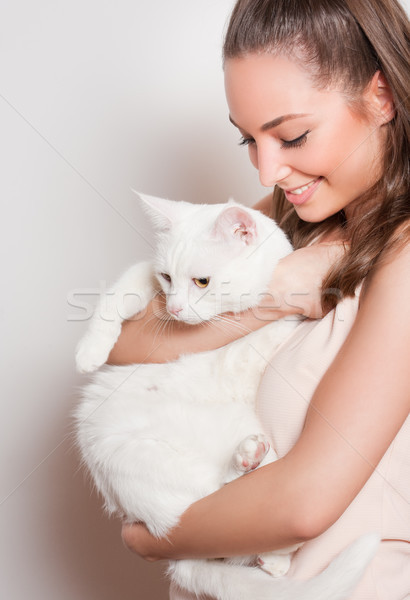 Favori animal portrait jeunes brunette beauté Photo stock © lithian