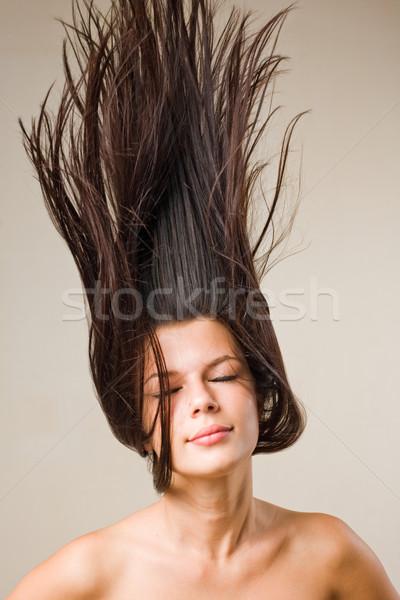 Photo stock: Dynamique · portrait · belle · jeunes · brunette · fille